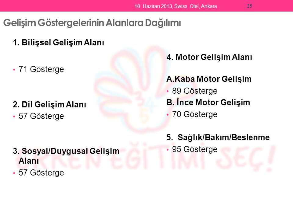 18 Haziran 2013, Swiss Otel, Ankara 25 Gelişim Göstergelerinin Alanlara Dağılımı 1.