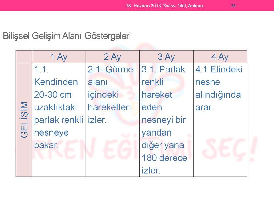 18 Haziran 2013, Swiss Otel, Ankara 26 Bilişsel Gelişim Alanı Göstergeleri