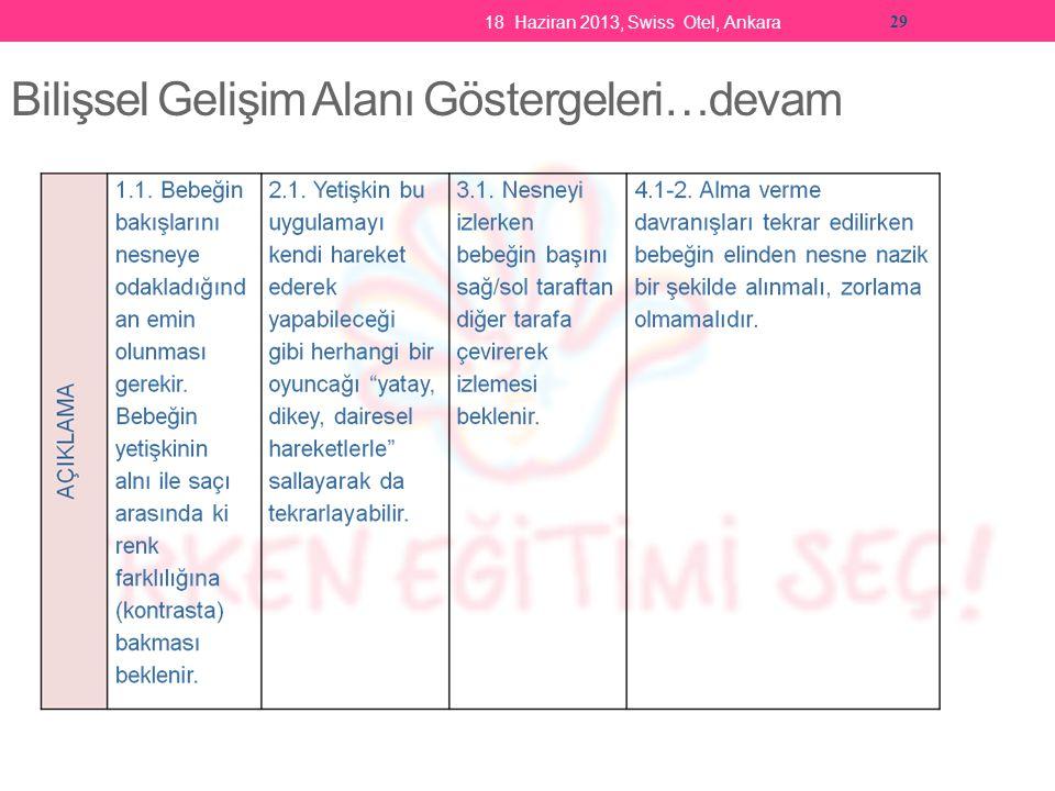 18 Haziran 2013, Swiss Otel, Ankara 29 Bilişsel Gelişim Alanı Göstergeleri…devam