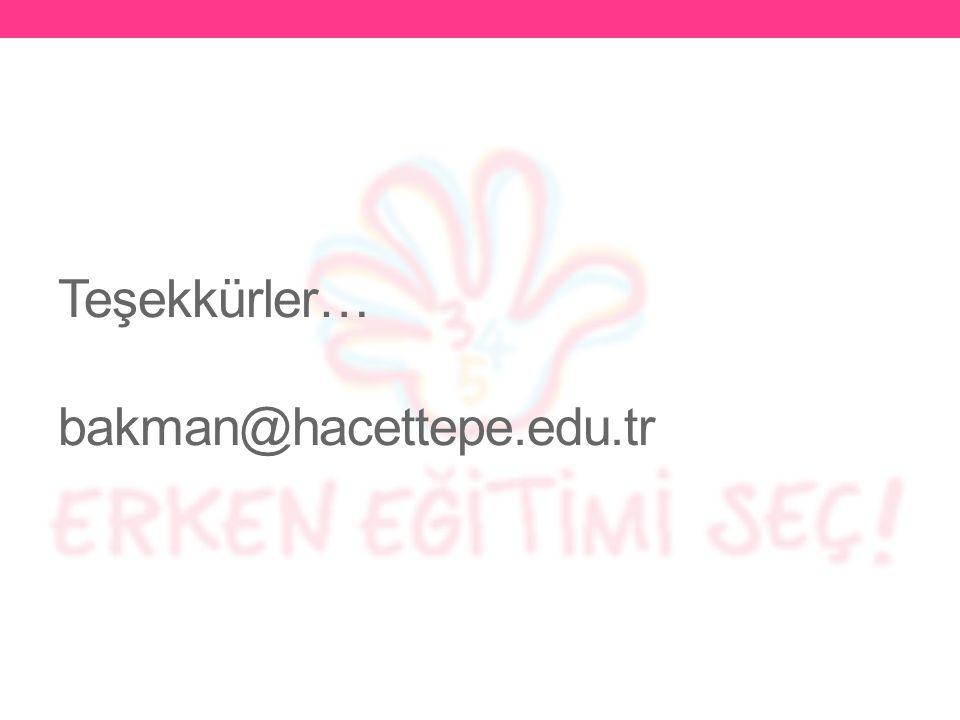 Teşekkürler… bakman@hacettepe.edu.tr