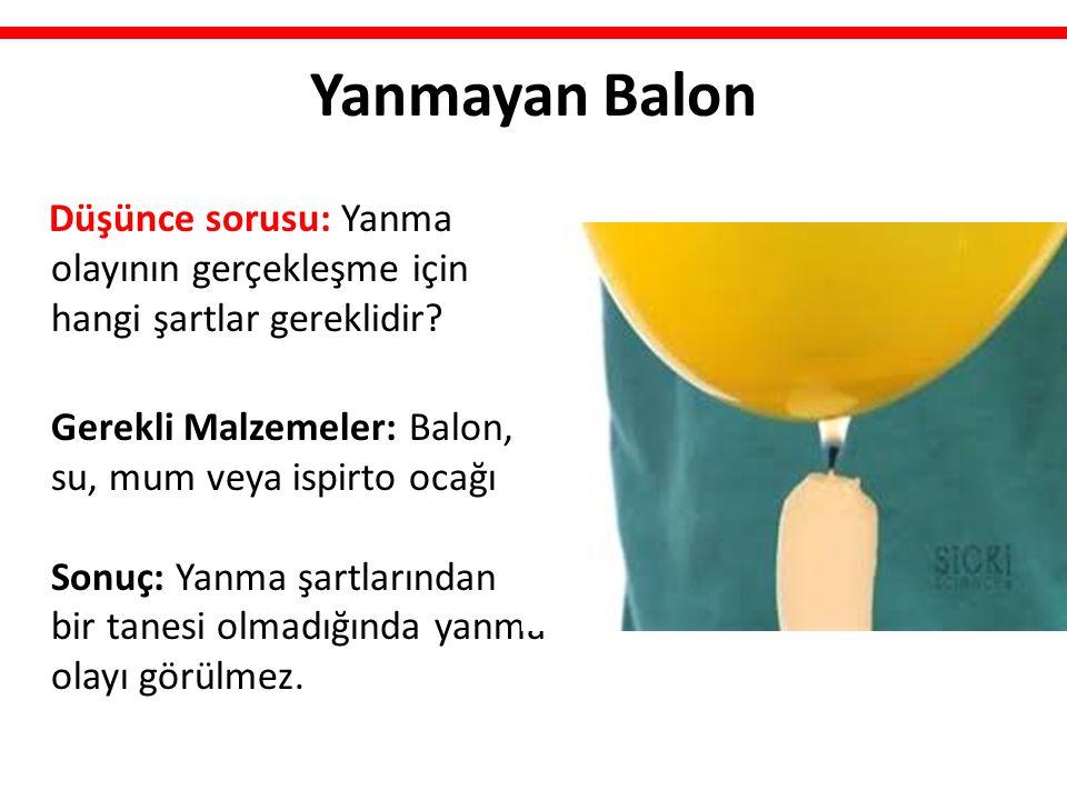Yanmayan Balon Düşünce sorusu: Yanma olayının gerçekleşme için hangi şartlar gereklidir? Gerekli Malzemeler: Balon, su, mum veya ispirto ocağı Sonuç:
