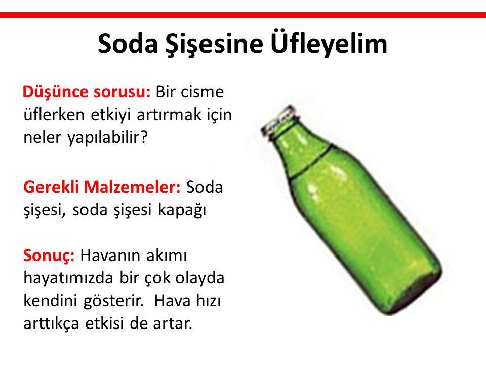 Soda Şişesine Üfleyelim Düşünce sorusu: Bir cisme üflerken etkiyi artırmak için neler yapılabilir? Gerekli Malzemeler: Soda şişesi, soda şişesi kapağı