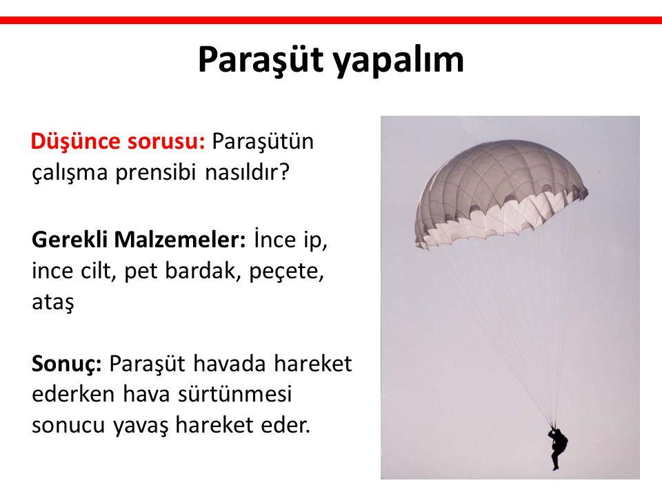 Paraşüt yapalım Düşünce sorusu: Paraşütün çalışma prensibi nasıldır? Gerekli Malzemeler: İnce ip, ince cilt, pet bardak, peçete, ataş Sonuç: Paraşüt h