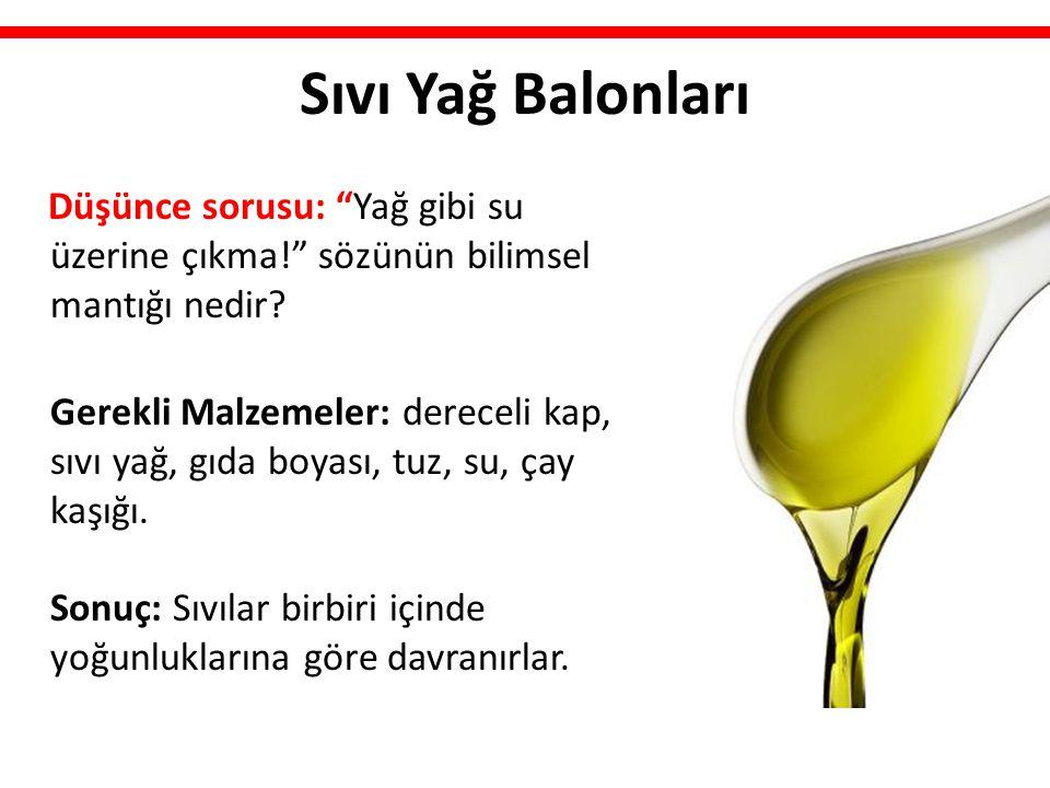 """Sıvı Yağ Balonları Düşünce sorusu: """"Yağ gibi su üzerine çıkma!"""" sözünün bilimsel mantığı nedir? Gerekli Malzemeler: dereceli kap, sıvı yağ, gıda boyas"""