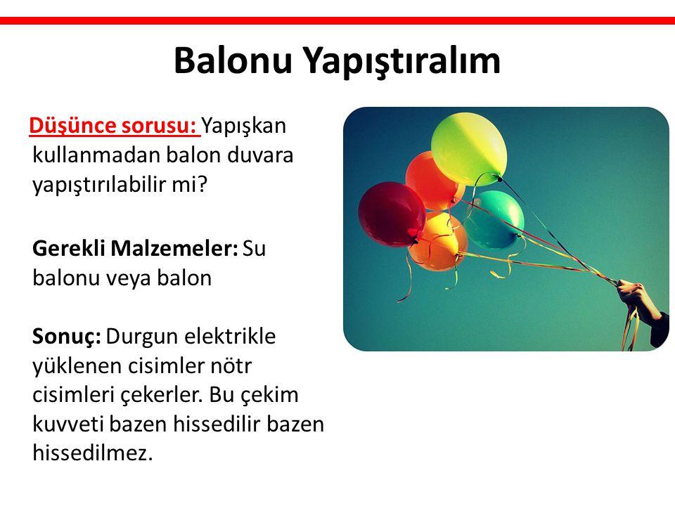 Balonu Yapıştıralım Düşünce sorusu: Yapışkan kullanmadan balon duvara yapıştırılabilir mi? Gerekli Malzemeler: Su balonu veya balon Sonuç: Durgun elek