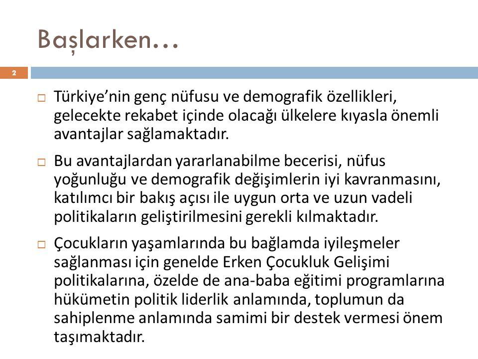 Başlarken… 2  Türkiye'nin genç nüfusu ve demografik özellikleri, gelecekte rekabet içinde olacağı ülkelere kıyasla önemli avantajlar sağlamaktadır.