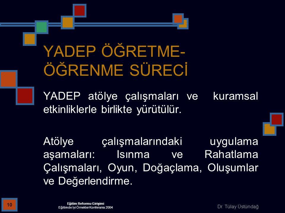 Dr. Tülay Üstündağ Eğitim Reformu Girişimi Eğitimde İyi Örnekler Konferansı 2004 10 YADEP ÖĞRETME- ÖĞRENME SÜRECİ YADEP atölye çalışmaları ve kuramsal