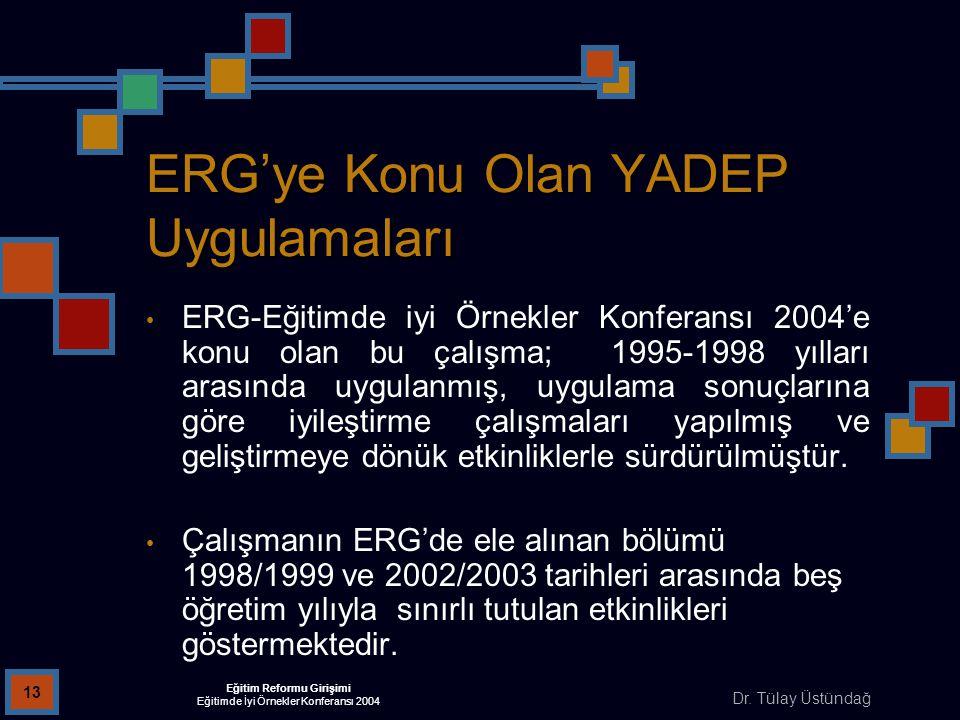 Dr. Tülay Üstündağ Eğitim Reformu Girişimi Eğitimde İyi Örnekler Konferansı 2004 13 ERG'ye Konu Olan YADEP Uygulamaları ERG-Eğitimde iyi Örnekler Konf
