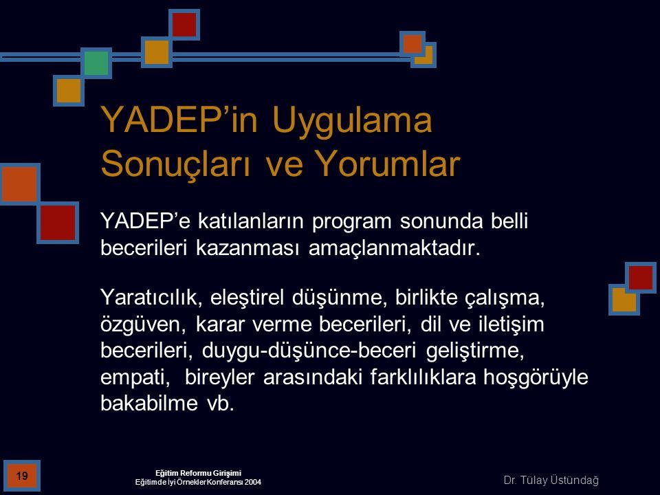Dr. Tülay Üstündağ Eğitim Reformu Girişimi Eğitimde İyi Örnekler Konferansı 2004 19 YADEP'in Uygulama Sonuçları ve Yorumlar YADEP'e katılanların progr