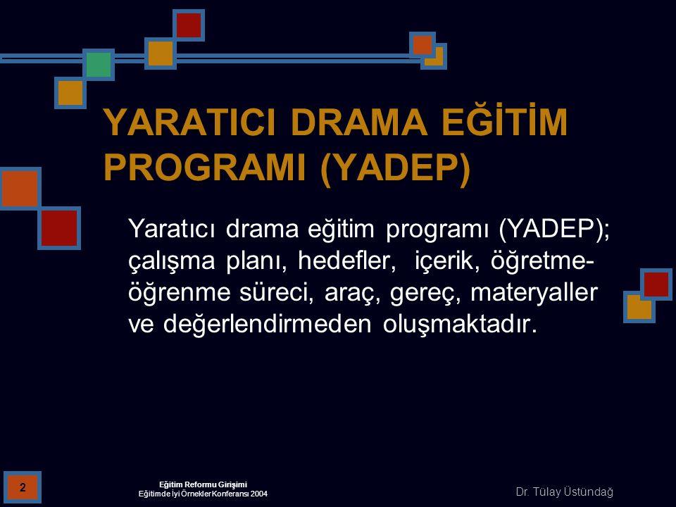 Dr. Tülay Üstündağ Eğitim Reformu Girişimi Eğitimde İyi Örnekler Konferansı 2004 2 YARATICI DRAMA EĞİTİM PROGRAMI (YADEP) Yaratıcı drama eğitim progra