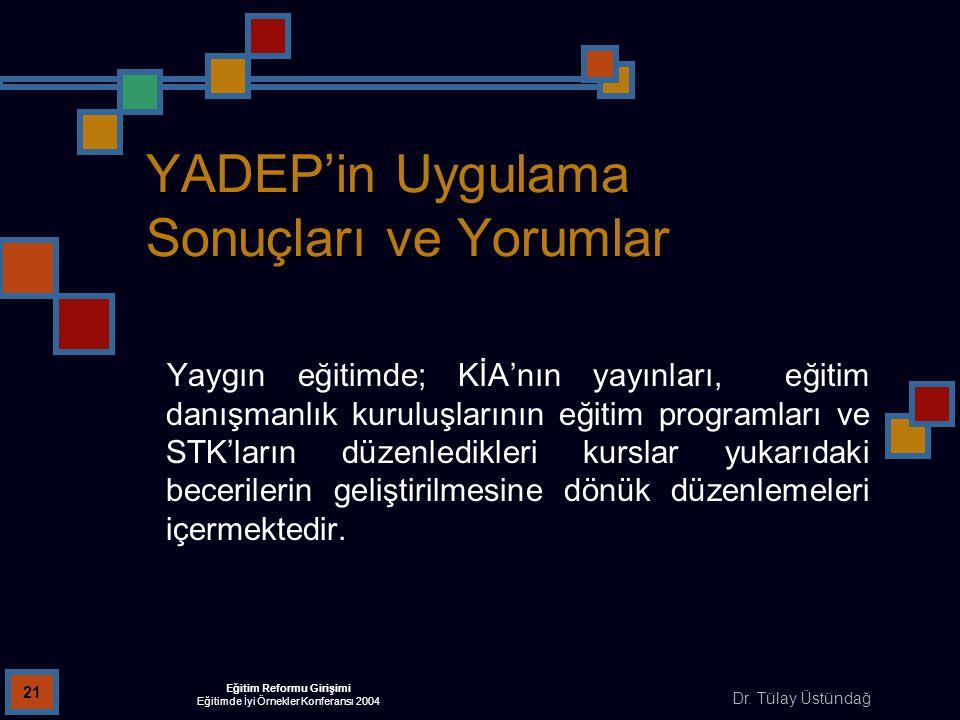 Dr. Tülay Üstündağ Eğitim Reformu Girişimi Eğitimde İyi Örnekler Konferansı 2004 21 YADEP'in Uygulama Sonuçları ve Yorumlar Yaygın eğitimde; KİA'nın y