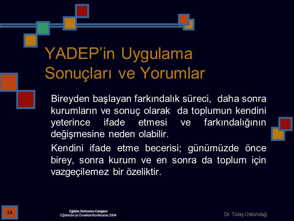 Dr. Tülay Üstündağ Eğitim Reformu Girişimi Eğitimde İyi Örnekler Konferansı 2004 24 YADEP'in Uygulama Sonuçları ve Yorumlar Bireyden başlayan farkında