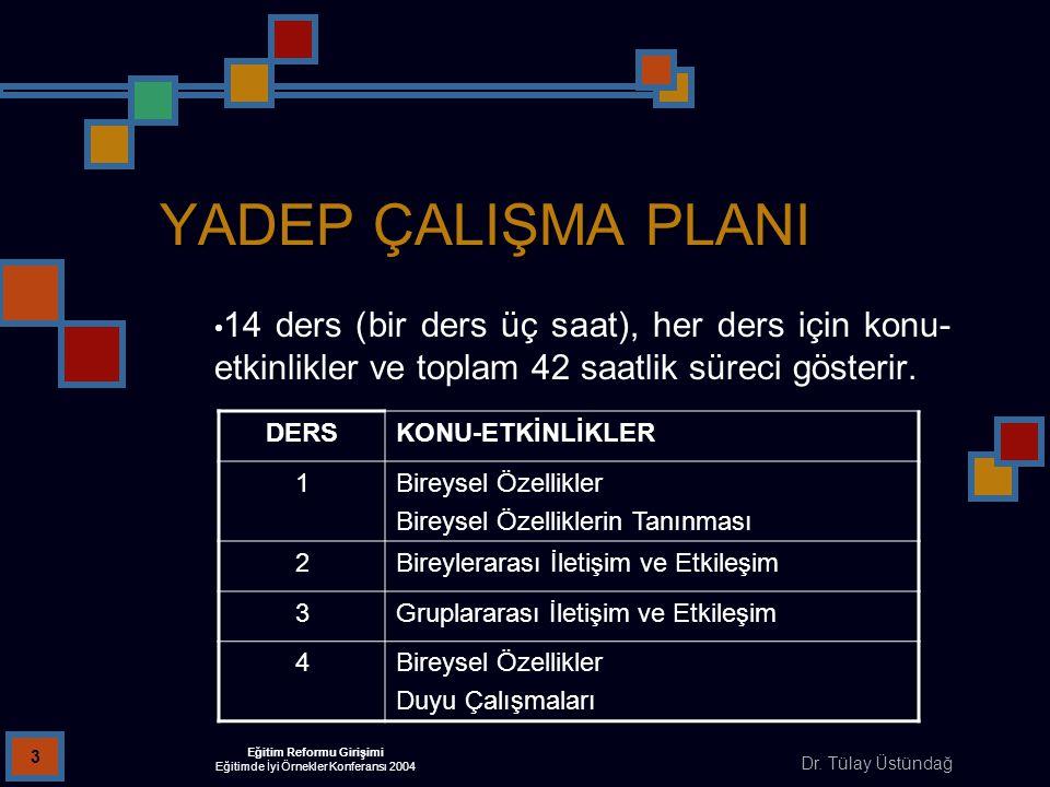 Dr. Tülay Üstündağ Eğitim Reformu Girişimi Eğitimde İyi Örnekler Konferansı 2004 3 YADEP ÇALIŞMA PLANI 14 ders (bir ders üç saat), her ders için konu-