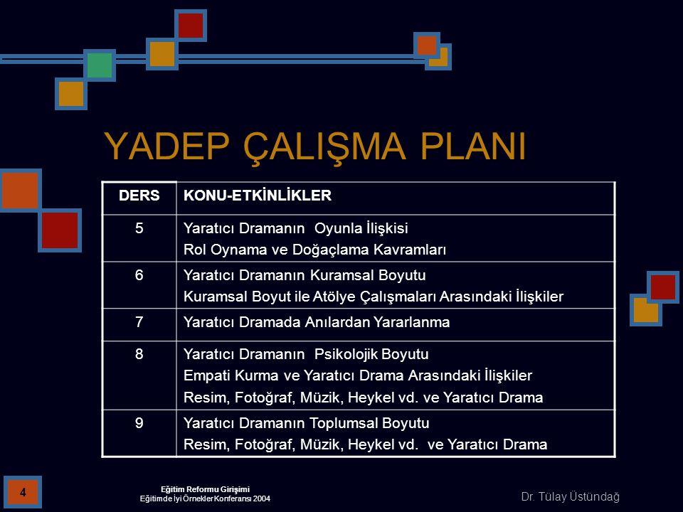 Dr. Tülay Üstündağ Eğitim Reformu Girişimi Eğitimde İyi Örnekler Konferansı 2004 4 YADEP ÇALIŞMA PLANI DERSKONU-ETKİNLİKLER 5Yaratıcı Dramanın Oyunla