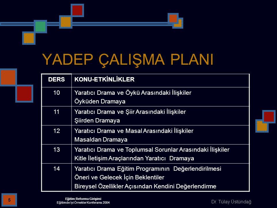 Dr. Tülay Üstündağ Eğitim Reformu Girişimi Eğitimde İyi Örnekler Konferansı 2004 5 YADEP ÇALIŞMA PLANI DERSKONU-ETKİNLİKLER 10Yaratıcı Drama ve Öykü A