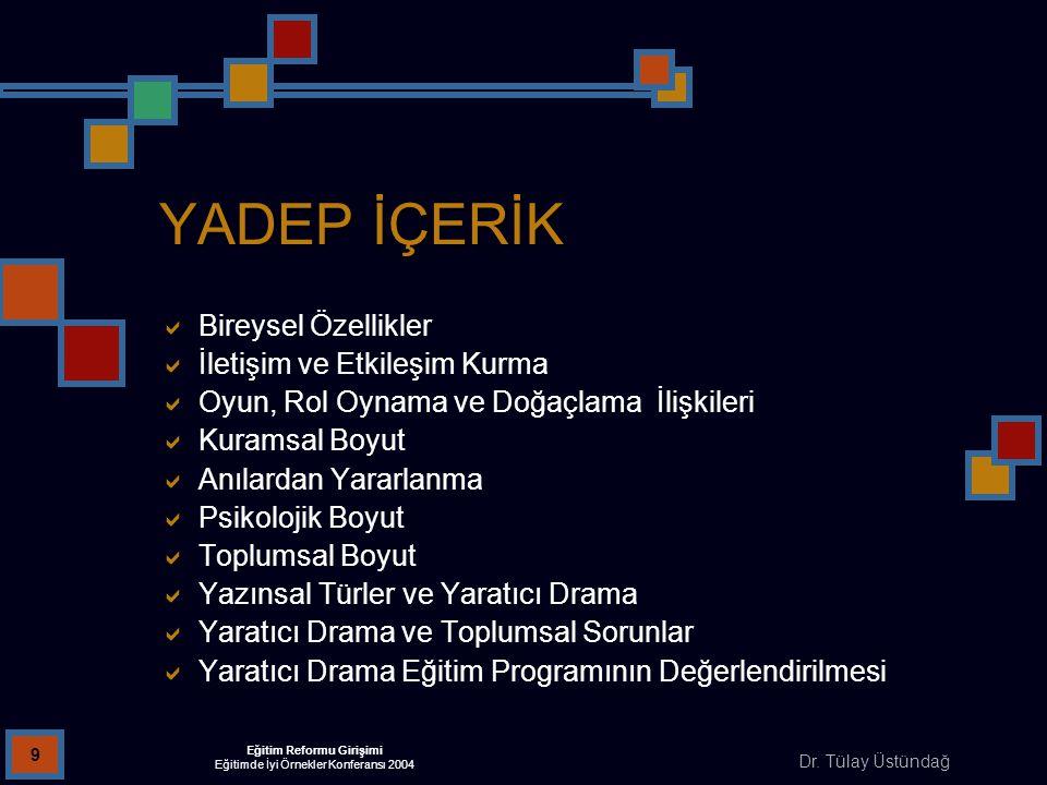 Dr. Tülay Üstündağ Eğitim Reformu Girişimi Eğitimde İyi Örnekler Konferansı 2004 9 YADEP İÇERİK  Bireysel Özellikler  İletişim ve Etkileşim Kurma 