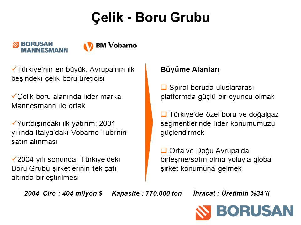 Çelik - Boru Grubu Türkiye'nin en büyük, Avrupa'nın ilk beşindeki çelik boru üreticisi Çelik boru alanında lider marka Mannesmann ile ortak Yurtdışındaki ilk yatırım: 2001 yılında İtalya'daki Vobarno Tubi'nin satın alınması 2004 yılı sonunda, Türkiye'deki Boru Grubu şirketlerinin tek çatı altında birleştirilmesi Büyüme Alanları  Spiral boruda uluslararası platformda güçlü bir oyuncu olmak  Türkiye'de özel boru ve doğalgaz segmentlerinde lider konumumuzu güçlendirmek  Orta ve Doğu Avrupa'da birleşme/satın alma yoluyla global şirket konumuna gelmek 2004 Ciro : 404 milyon $ Kapasite : 770.000 ton İhracat : Üretimin %34'ü