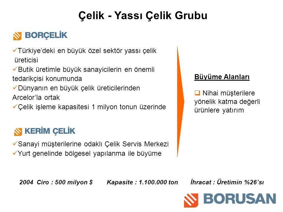 Türkiye'deki en büyük özel sektör yassı çelik üreticisi Butik üretimle büyük sanayicilerin en önemli tedarikçisi konumunda Dünyanın en büyük çelik üreticilerinden Arcelor'la ortak Çelik işleme kapasitesi 1 milyon tonun üzerinde Sanayi müşterilerine odaklı Çelik Servis Merkezi Yurt genelinde bölgesel yapılanma ile büyüme Çelik - Yassı Çelik Grubu Büyüme Alanları 2004 Ciro : 500 milyon $ Kapasite : 1.100.000 ton İhracat : Üretimin %26'sı  Nihai müşterilere yönelik katma değerli ürünlere yatırım