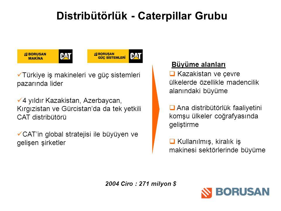 Distribütörlük - Caterpillar Grubu Türkiye iş makineleri ve güç sistemleri pazarında lider 4 yıldır Kazakistan, Azerbaycan, Kırgızistan ve Gürcistan'da da tek yetkili CAT distribütörü CAT'in global stratejisi ile büyüyen ve gelişen şirketler Büyüme alanları 2004 Ciro : 271 milyon $  Kazakistan ve çevre ülkelerde özellikle madencilik alanındaki büyüme  Ana distribütörlük faaliyetini komşu ülkeler coğrafyasında geliştirme  Kullanılmış, kiralık iş makinesi sektörlerinde büyüme