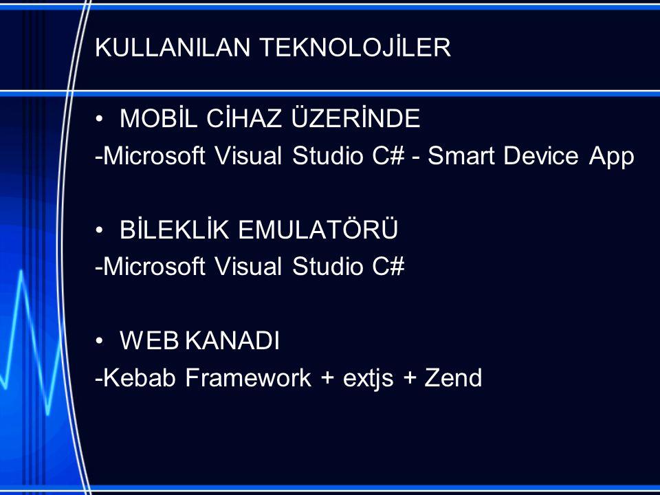 KULLANILAN TEKNOLOJİLER MOBİL CİHAZ ÜZERİNDE -Microsoft Visual Studio C# - Smart Device App BİLEKLİK EMULATÖRÜ -Microsoft Visual Studio C# WEB KANADI -Kebab Framework + extjs + Zend