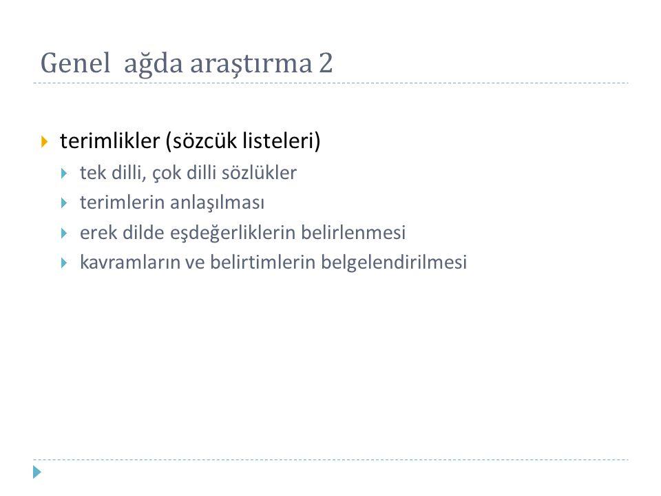 Genel ağda araştırma 2  terimlikler (sözcük listeleri)  tek dilli, çok dilli sözlükler  terimlerin anlaşılması  erek dilde eşdeğerliklerin belirle