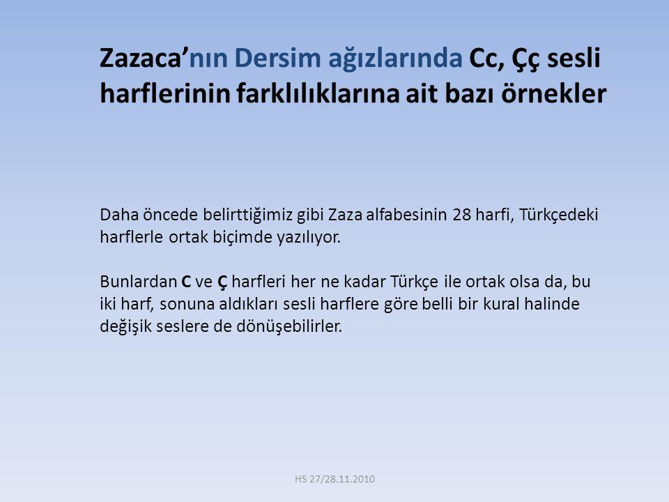 Daha öncede belirttiğimiz gibi Zaza alfabesinin 28 harfi, Türkçedeki harflerle ortak biçimde yazılıyor. Bunlardan C ve Ç harfleri her ne kadar Türkçe