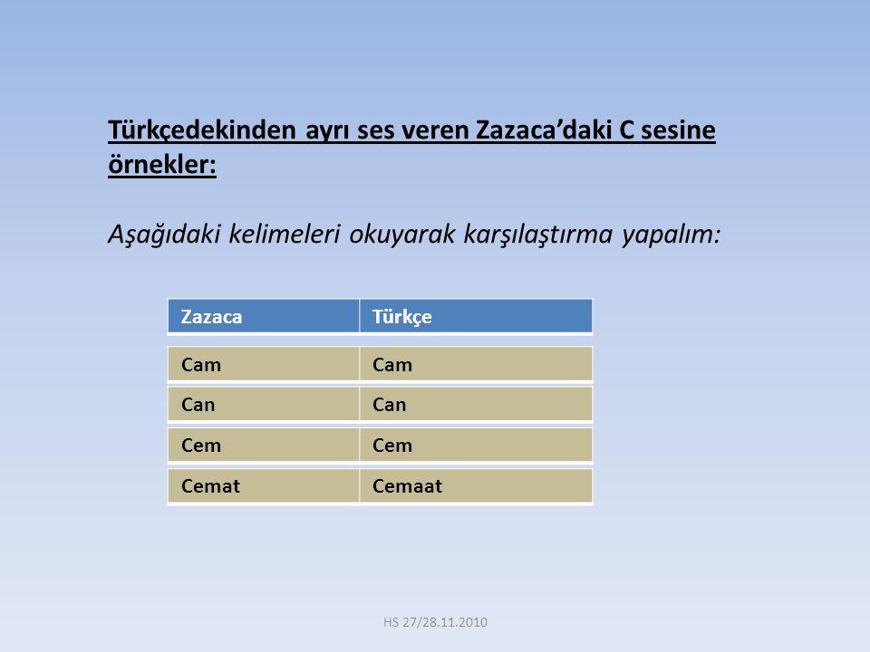 Türkçedekinden ayrı ses veren Zazaca'daki C sesine örnekler: Aşağıdaki kelimeleri okuyarak karşılaştırma yapalım: Zazaca Türkçe Cem Cemat Cemaat Can C