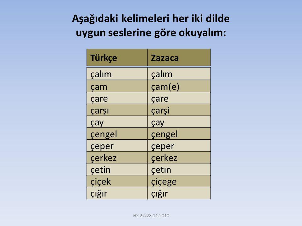 Aşağıdaki kelimeleri her iki dilde uygun seslerine göre okuyalım: TürkçeZazaca çamçam(e) çare çarşıçarşi çay çengel çeper çerkez çetinçetın çiçekçiçeg