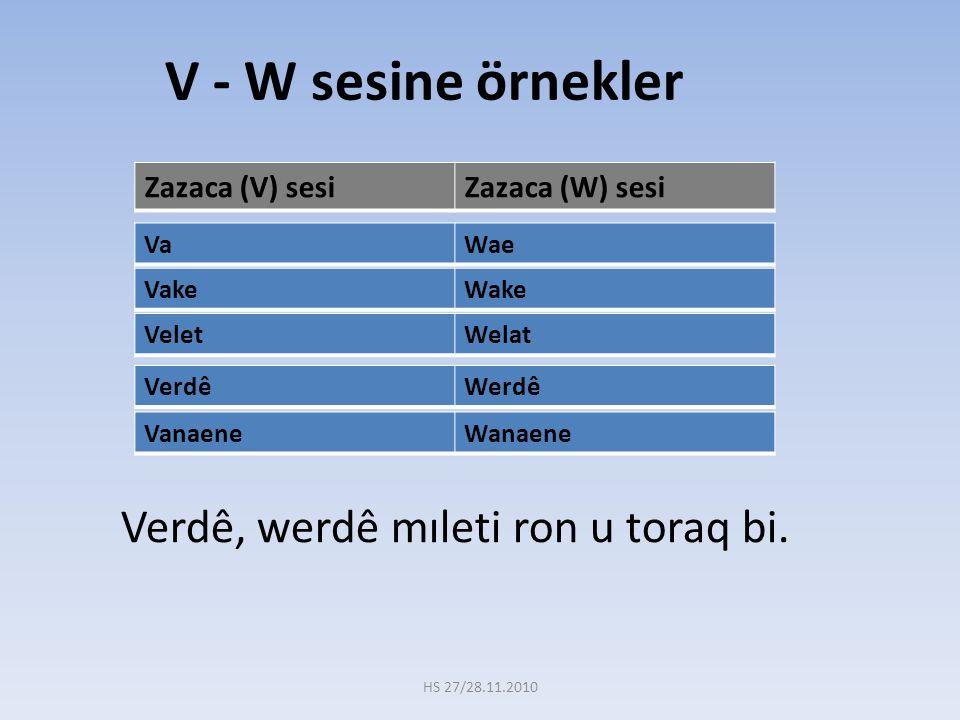 Verdê, werdê mıleti ron u toraq bi. Zazaca (V) sesiZazaca (W) sesi V - W sesine örnekler VeletWelat VaWae VanaeneWanaene VakeWake VerdêWerdê HS 27/28.