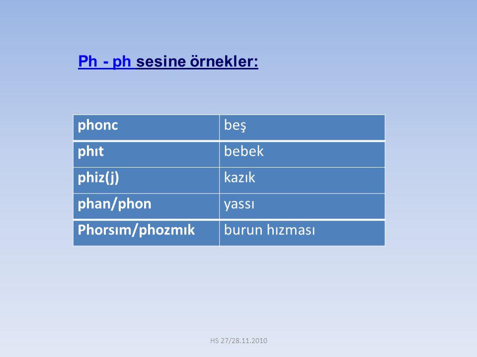phoncbeş phıtbebek phiz(j)kazık phan/phonyassı Phorsım/phozmıkburun hızması Ph - ph sesine örnekler: HS 27/28.11.2010