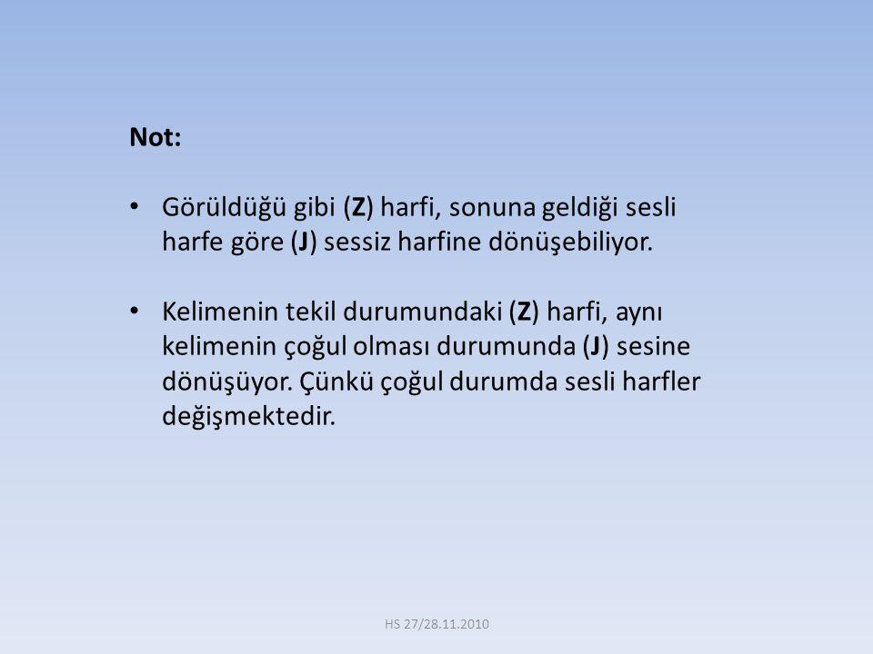 Not: Görüldüğü gibi (Z) harfi, sonuna geldiği sesli harfe göre (J) sessiz harfine dönüşebiliyor. Kelimenin tekil durumundaki (Z) harfi, aynı kelimenin