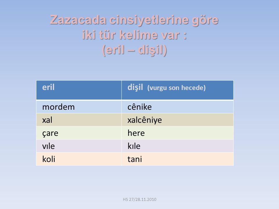 Zazacada cinsiyetlerine göre iki tür kelime var : (eril – dişil) eril dişil (vurgu son hecede) mordem cênike xal xalcêniye çare here vıle kıle koli tani HS 27/28.11.2010
