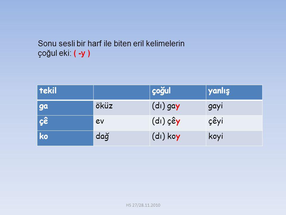 tekil çoğulyanlış gaöküz(dı) gaygayi çêev(dı) çêyçêyi kodağ(dı) koykoyi Sonu sesli bir harf ile biten eril kelimelerin çoğul eki: ( -y ) HS 27/28.11.2010