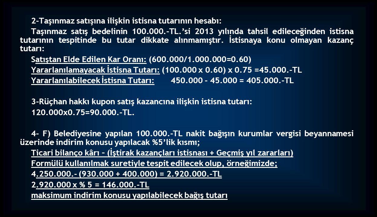 2-Taşınmaz satışına ilişkin istisna tutarının hesabı: Taşınmaz satış bedelinin 100.000.-TL.'si 2013 yılında tahsil edileceğinden istisna tutarının tes