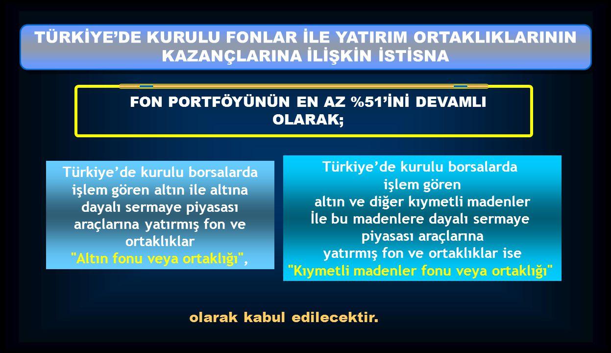 TÜRKİYE'DE KURULU FONLAR İLE YATIRIM ORTAKLIKLARININ KAZANÇLARINA İLİŞKİN İSTİSNA TÜRKİYE'DE KURULU FONLAR İLE YATIRIM ORTAKLIKLARININ KAZANÇLARINA İL