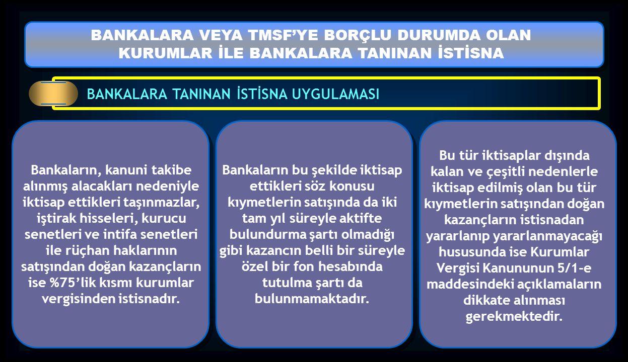 BANKALARA VEYA TMSF'YE BORÇLU DURUMDA OLAN KURUMLAR İLE BANKALARA TANINAN İSTİSNA BANKALARA VEYA TMSF'YE BORÇLU DURUMDA OLAN KURUMLAR İLE BANKALARA TA