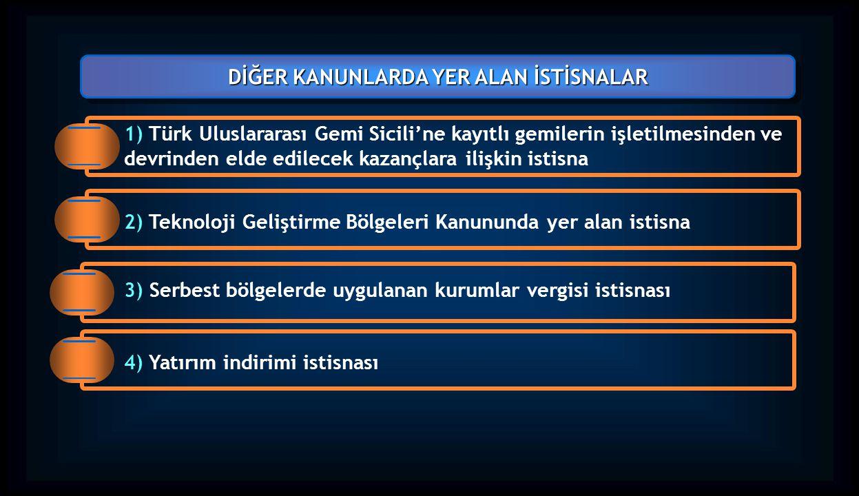 1) Türk Uluslararası Gemi Sicili'ne kayıtlı gemilerin işletilmesinden ve devrinden elde edilecek kazançlara ilişkin istisna DİĞER KANUNLARDA YER ALAN