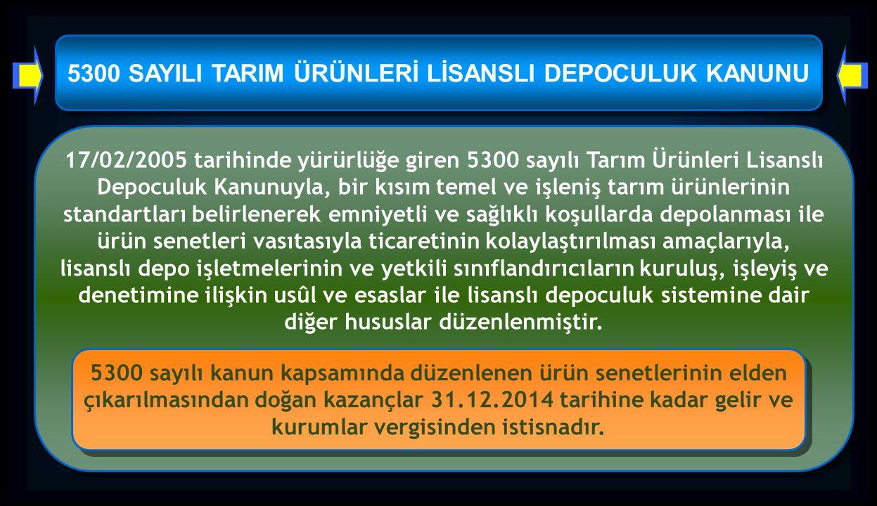 5300 SAYILI TARIM ÜRÜNLERİ LİSANSLI DEPOCULUK KANUNU 17/02/2005 tarihinde yürürlüğe giren 5300 sayılı Tarım Ürünleri Lisanslı Depoculuk Kanunuyla, bir