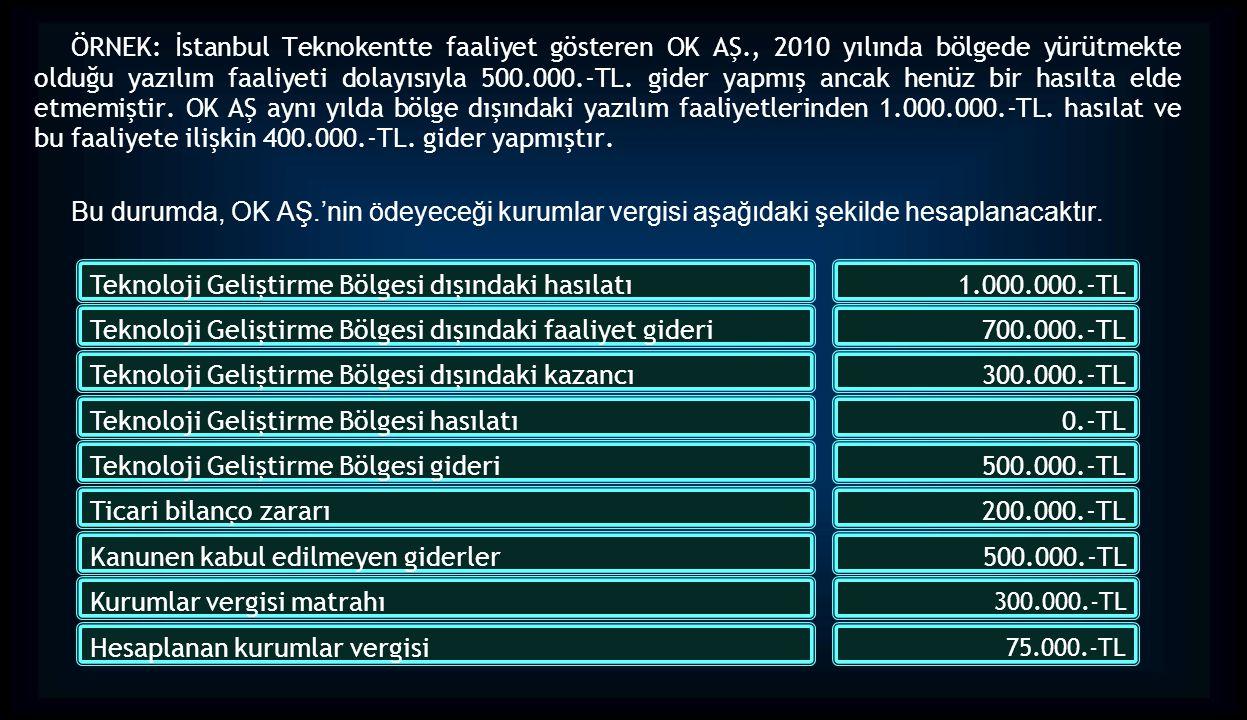 ÖRNEK: İstanbul Teknokentte faaliyet gösteren OK AŞ., 2010 yılında bölgede yürütmekte olduğu yazılım faaliyeti dolayısıyla 500.000.-TL. gider yapmış a