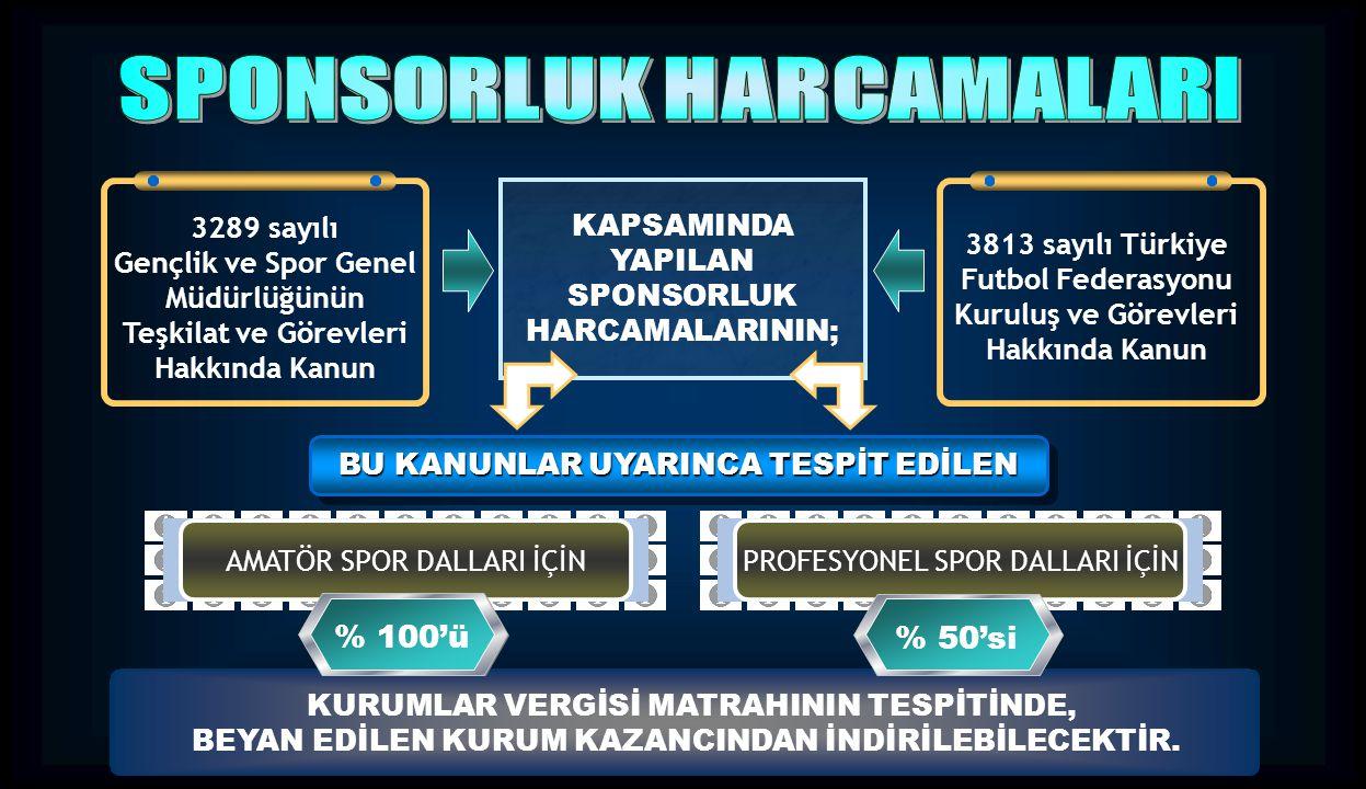 KAPSAMINDA YAPILAN SPONSORLUK HARCAMALARININ; 3289 sayılı Gençlik ve Spor Genel Müdürlüğünün Teşkilat ve Görevleri Hakkında Kanun 3813 sayılı Türkiye