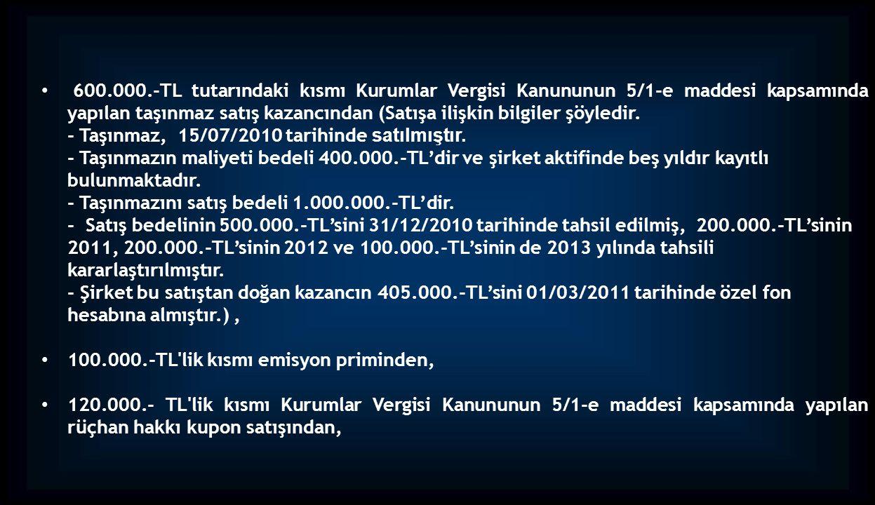 600.000.-TL tutarındaki kısmı Kurumlar Vergisi Kanununun 5/1-e maddesi kapsamında yapılan taşınmaz satış kazancından (Satışa ilişkin bilgiler şöyledir