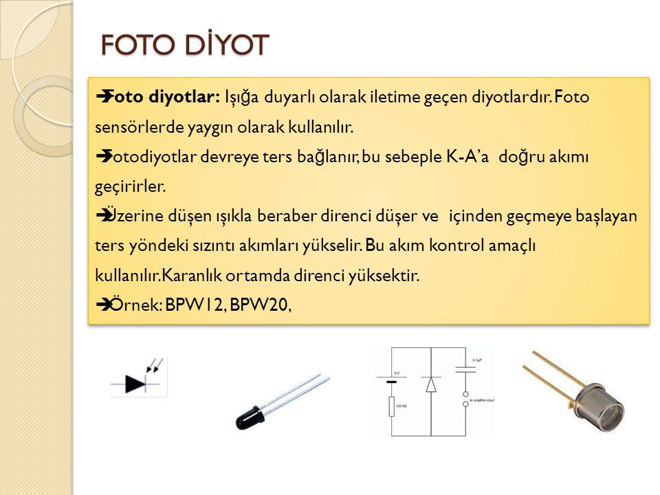 LED D İ YOT [ LED ] Light Emitting Diode (ışık yayan diyot) : LED'e do ğ ru polarmada P ve N maddeleri birleşti ğ inde nötrleşir.