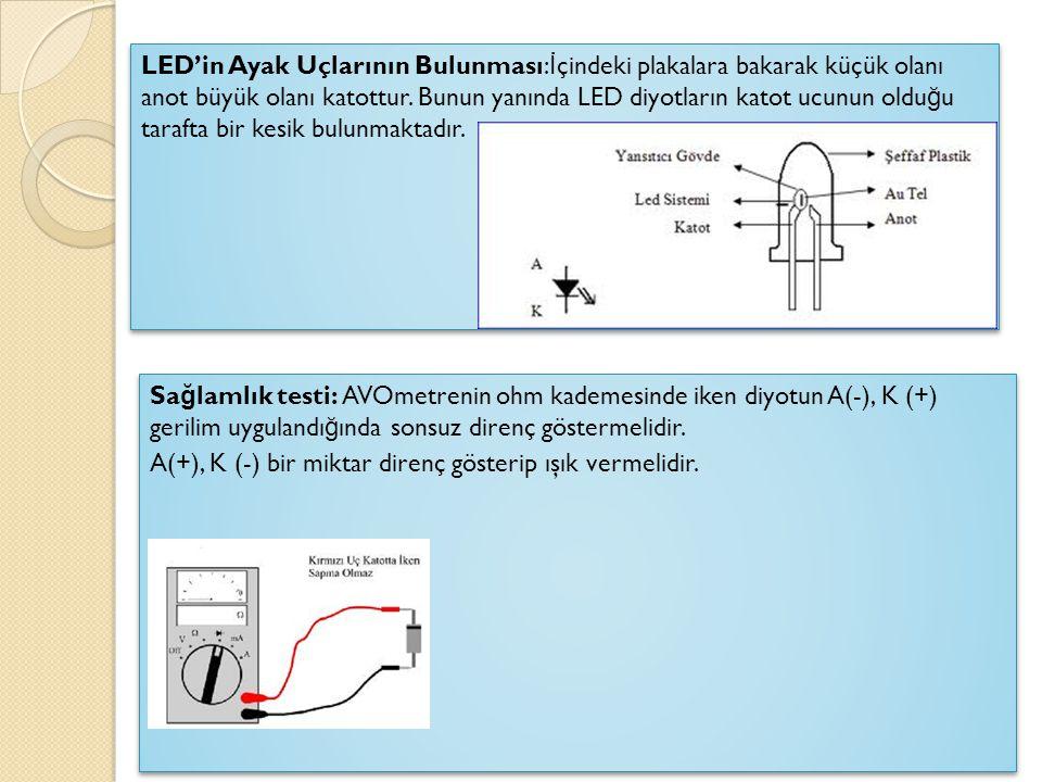  İ NFRARED D İ YOT (IR Diyot, Kızıl Ötesi Diyot): İ nfraruj LED, normal LED'in birleşim yüzeyine galyum arsenid maddesi katılmamış halidir.