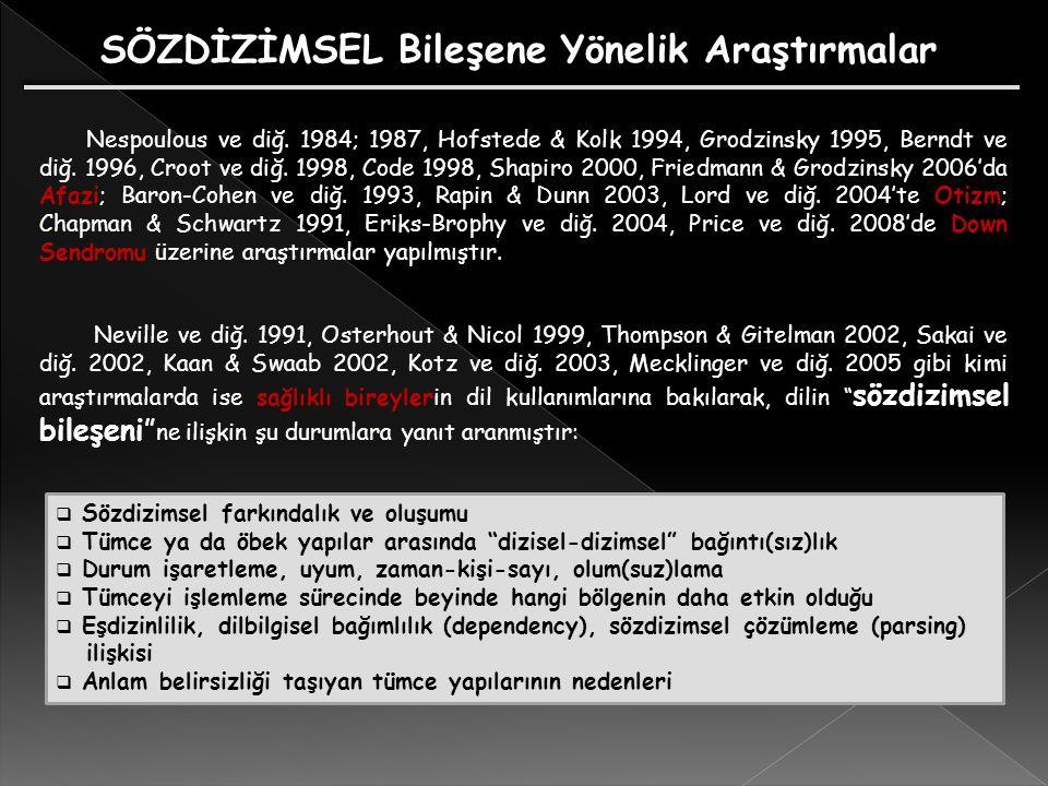 Nespoulous ve diğ. 1984; 1987, Hofstede & Kolk 1994, Grodzinsky 1995, Berndt ve diğ. 1996, Croot ve diğ. 1998, Code 1998, Shapiro 2000, Friedmann & Gr