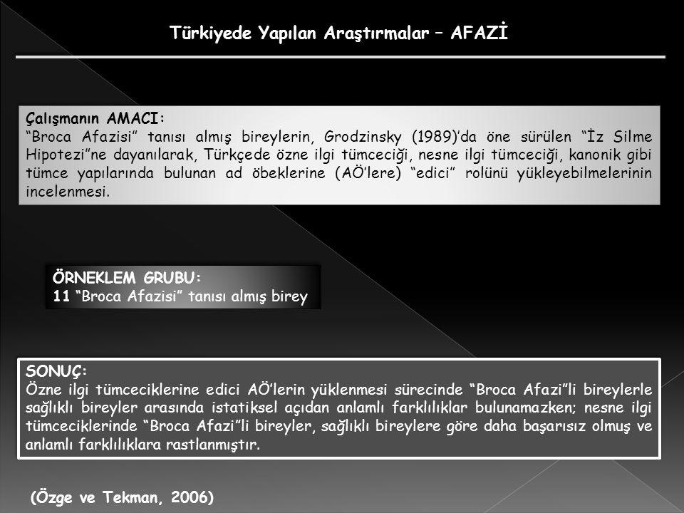 (Özge ve Tekman, 2006) Çalışmanın AMACI: Broca Afazisi tanısı almış bireylerin, Grodzinsky (1989)'da öne sürülen İz Silme Hipotezi ne dayanılarak, Türkçede özne ilgi tümceciği, nesne ilgi tümceciği, kanonik gibi tümce yapılarında bulunan ad öbeklerine (AÖ'lere) edici rolünü yükleyebilmelerinin incelenmesi.