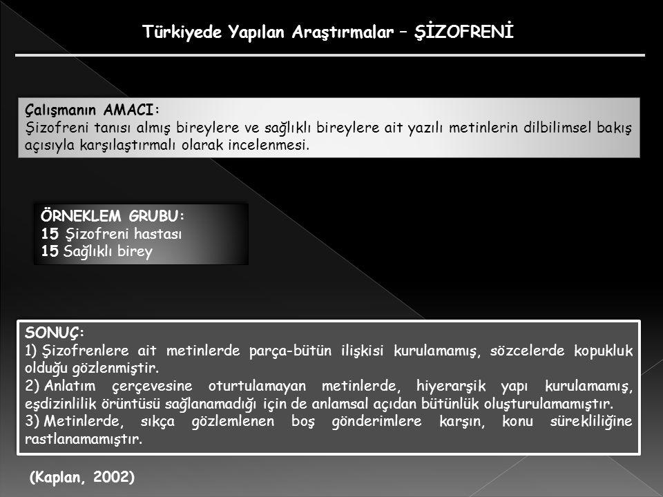 Türkiyede Yapılan Araştırmalar – ŞİZOFRENİ Çalışmanın AMACI: Şizofreni tanısı almış bireylere ve sağlıklı bireylere ait yazılı metinlerin dilbilimsel