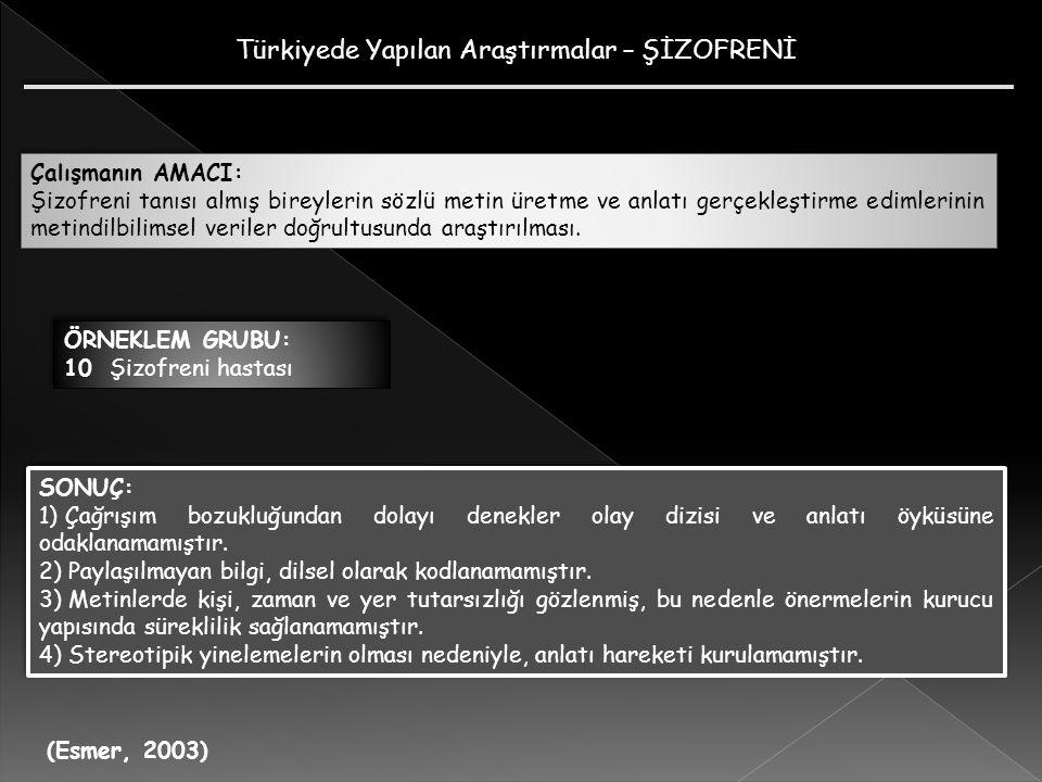 Türkiyede Yapılan Araştırmalar – ŞİZOFRENİ (Esmer, 2003) Çalışmanın AMACI: Şizofreni tanısı almış bireylerin sözlü metin üretme ve anlatı gerçekleştir
