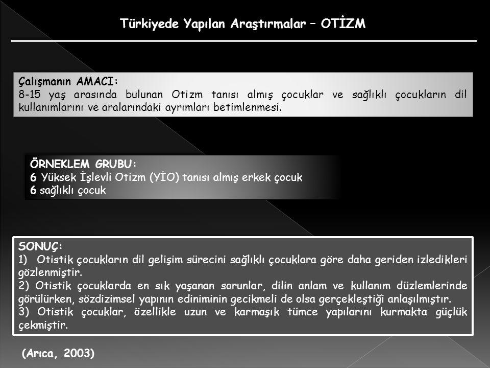 Türkiyede Yapılan Araştırmalar – OTİZM (Arıca, 2003) Çalışmanın AMACI: 8-15 yaş arasında bulunan Otizm tanısı almış çocuklar ve sağlıklı çocukların dil kullanımlarını ve aralarındaki ayrımları betimlenmesi.