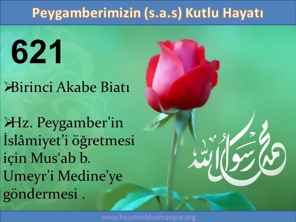 621  Birinci Akabe Biatı  Hz. Peygamber'in İslâmiyet'i öğretmesi için Mus'ab b. Umeyr'i Medine'ye göndermesi.