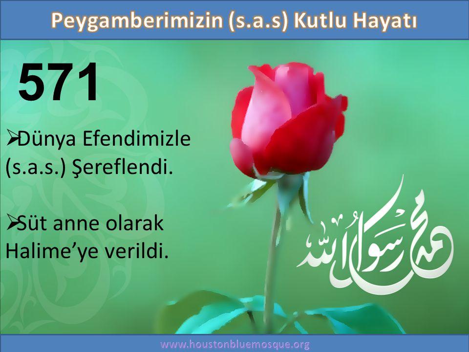 571  Dünya Efendimizle (s.a.s.) Şereflendi.  Süt anne olarak Halime'ye verildi.